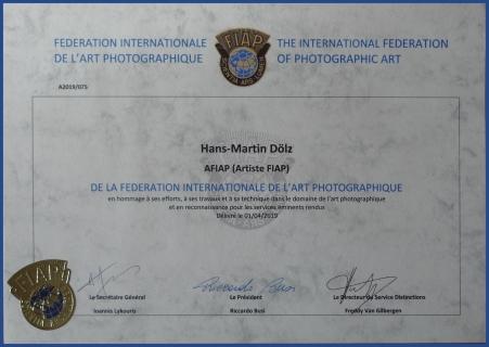 AFIAP distinction Hans-Martin Doelz