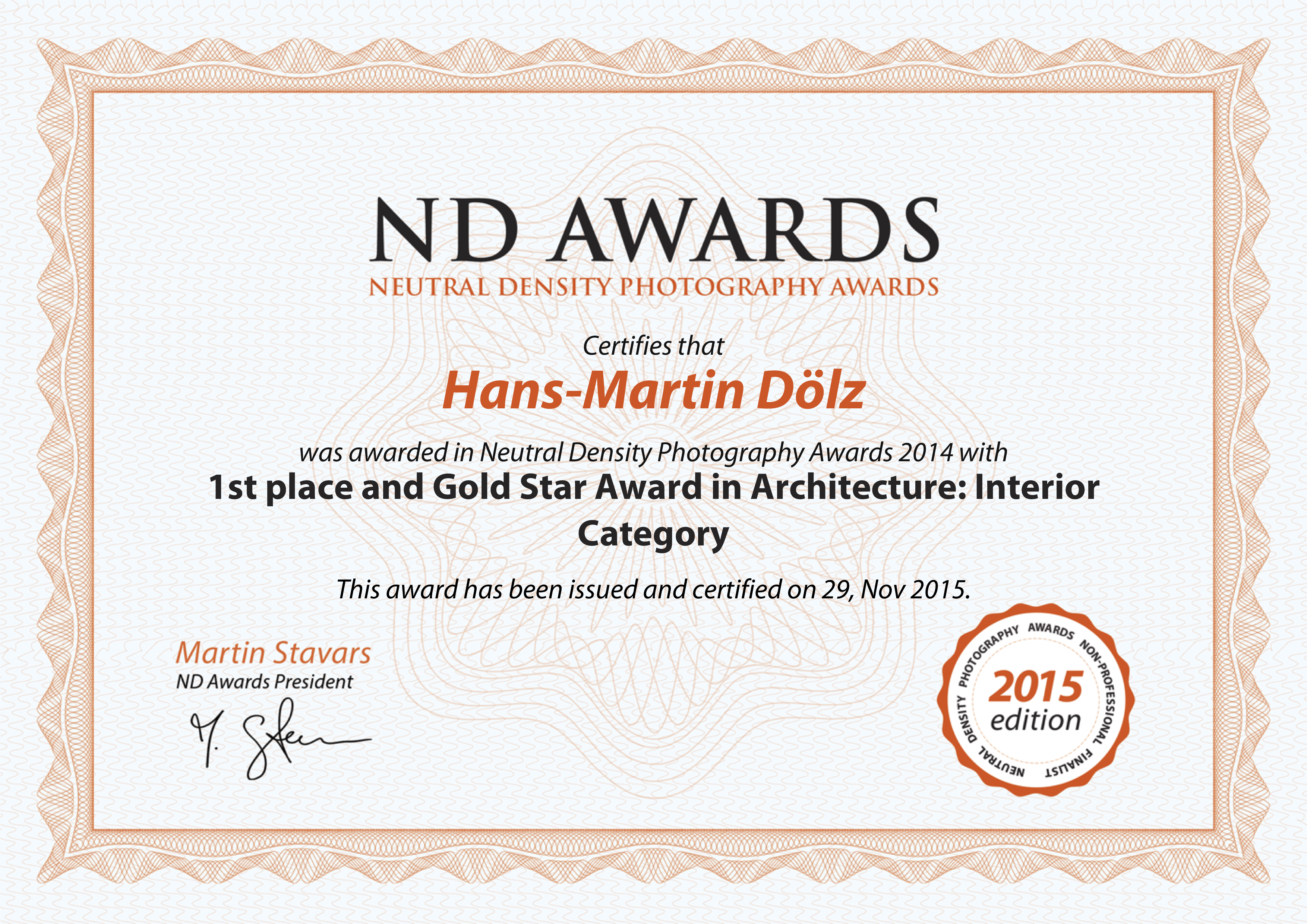 ND AWARDS_certificate_Hans-Martin_Doelz 2015 1st place gold star